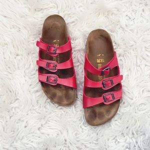 • Birkenstock • 3 Strap Dark Pink Sandals 7